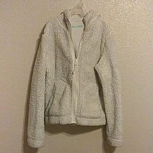 White faux fur double sided hooded jacket double